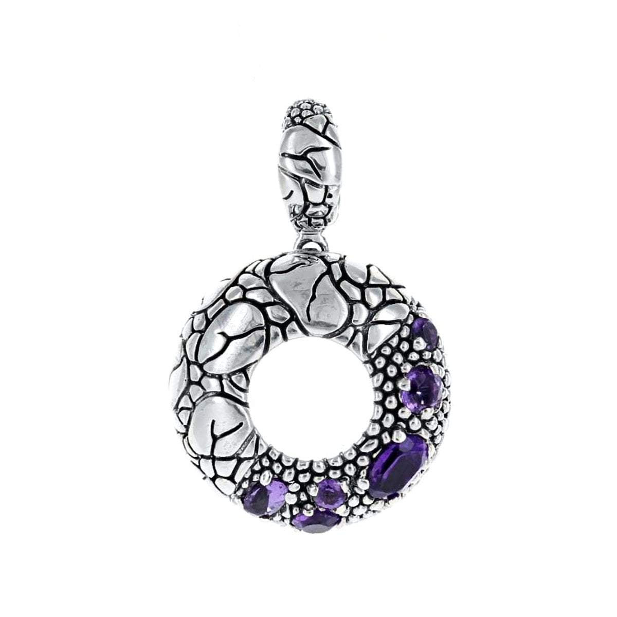 David Beck Bali Pendants Default Title / Silver / Purple David Beck Bali Open Circle Pendant in Sterling Silver and Amethyst 1150490