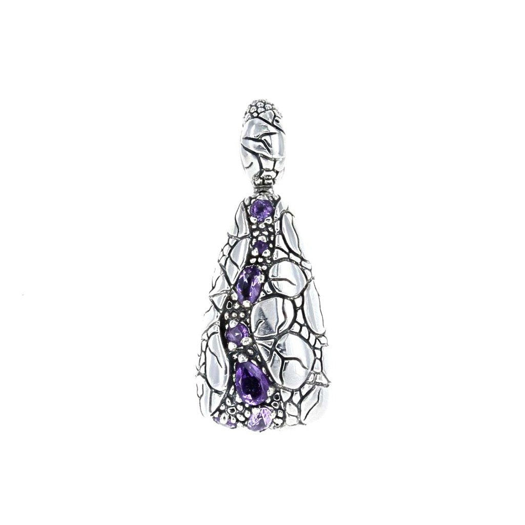 David Beck Bali Pendants Default Title / Silver / Purple David Beck Bali Triangle Pendant in Sterling Silver and Amethyst 1150493