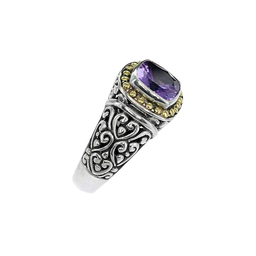 Bali Square Sterling Silver Amethyst Ring with Gold Detail