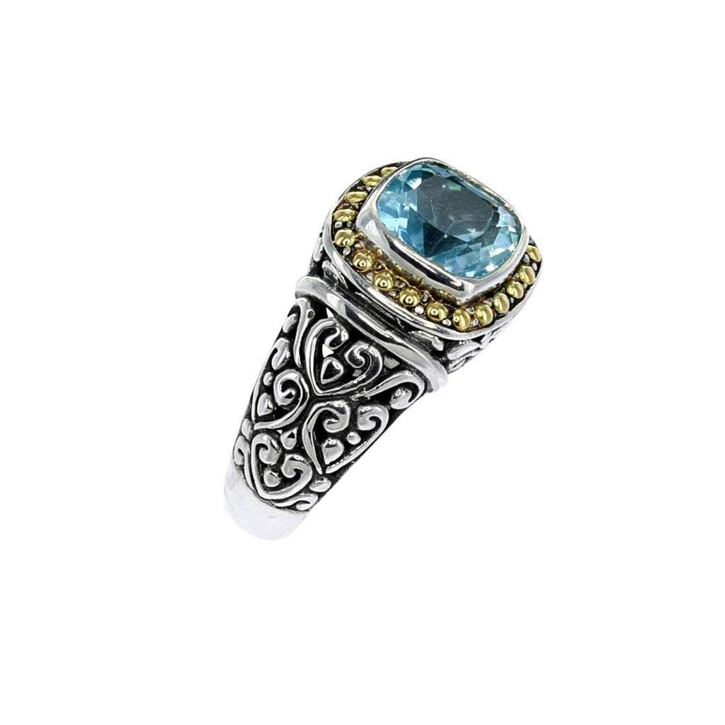 Bali Square Sterling Silver Blue Topaz Ring with Gold Detail