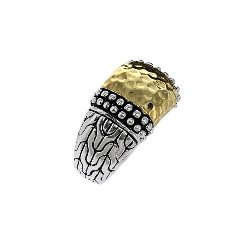 Large Bali Sterling Silver Ring with 14K Gold Detail