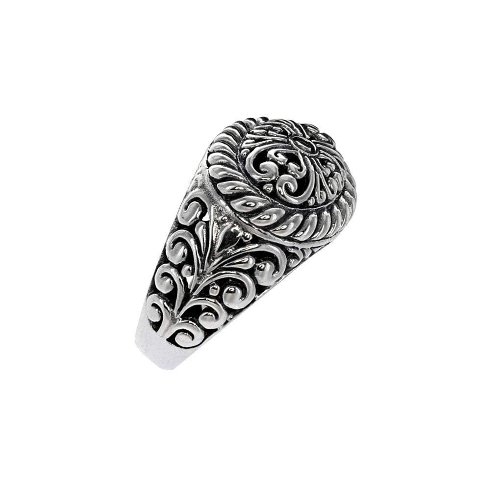 Small David Beck Bali Sterling Silver Ring with Filigree Detail