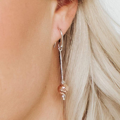 Sirius Ball Earrings in Rose Gold and Rhodium Overlay
