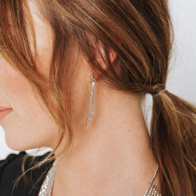 Sirius 3 Strand Small Bead Drop Earrings with Rhodium Overlay