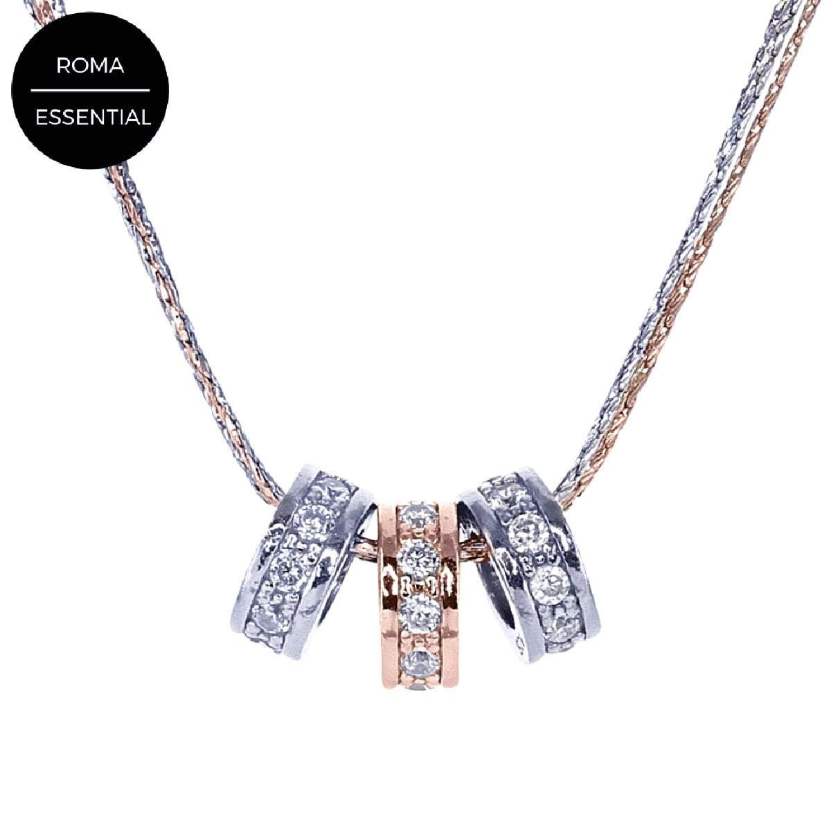 Eros Milano Necklaces Default Title / Silver / Rose Radiance 3-Ring Necklace with Brilliant CZ Accents in Rhodium and Rose Gold