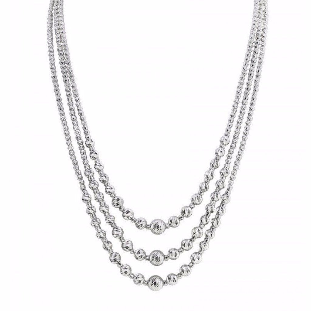 Eros Milano Necklaces Default Title / Silver Sirius 3-Strand Fancy Ball Necklace in Rhodium Overlay