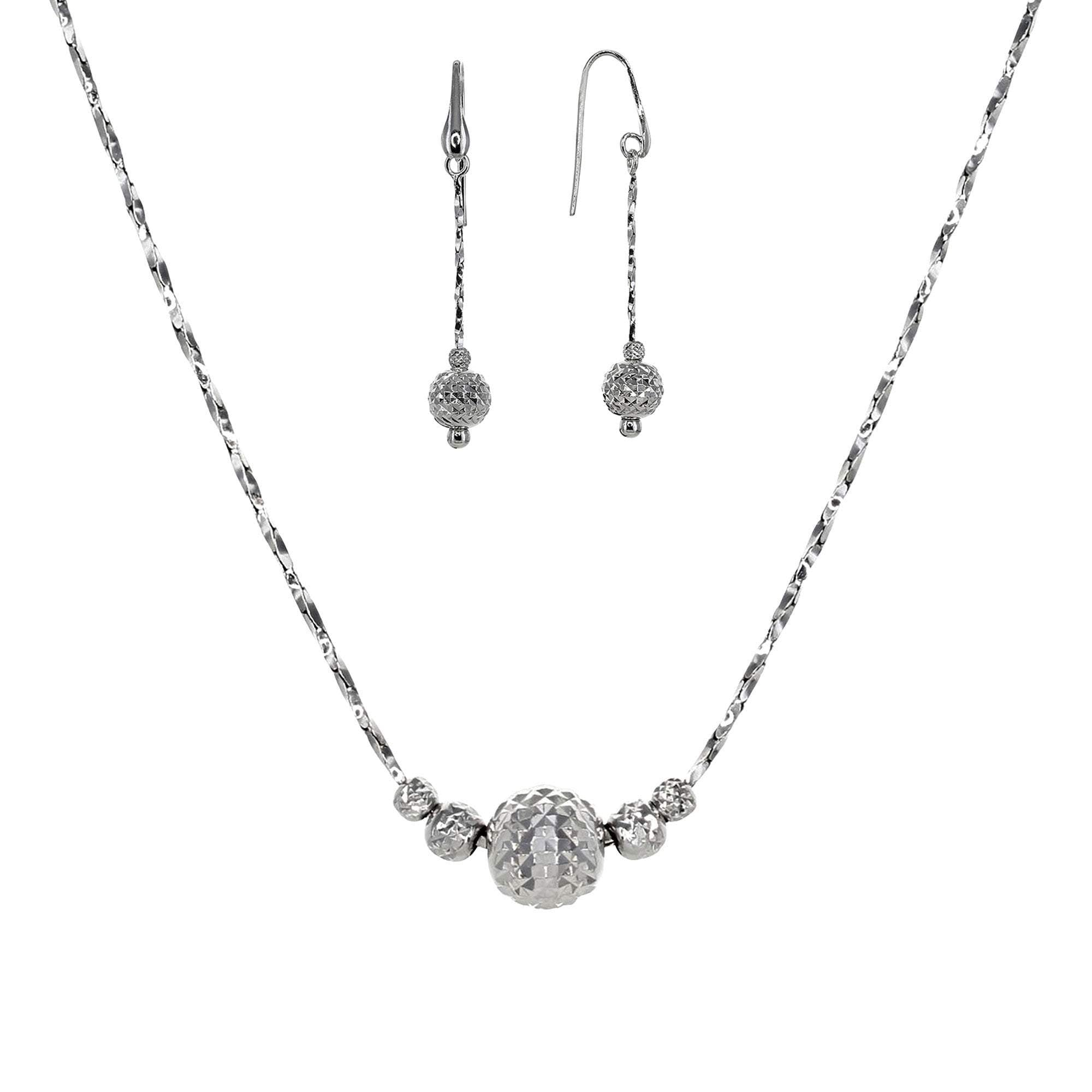Eros Milano Necklaces Default Title / Silver Thalia Single Ball Necklace and Earring Set with Rhodium Overlay