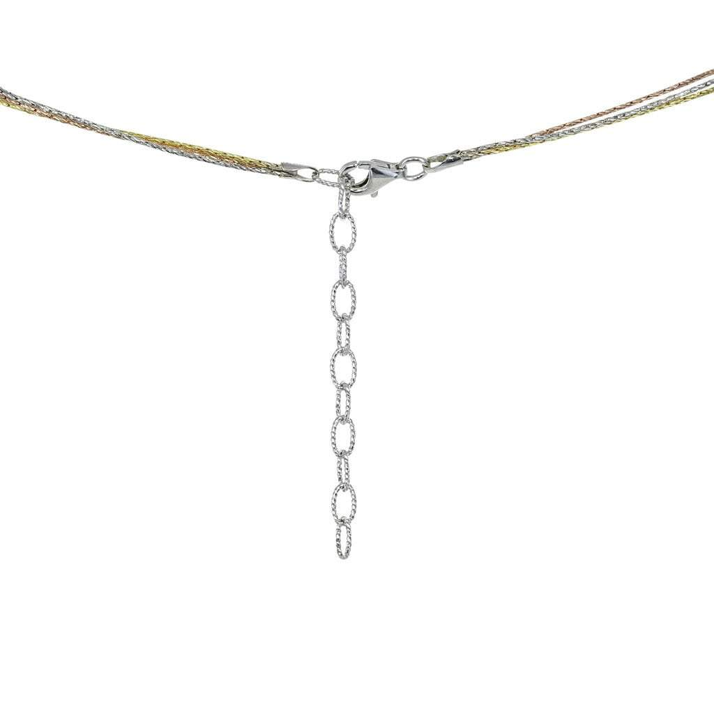 Eros Milano Necklaces Default Title / tri-color 3-Ring Necklace with Gold, Rose Gold, and Rhodium Overlay