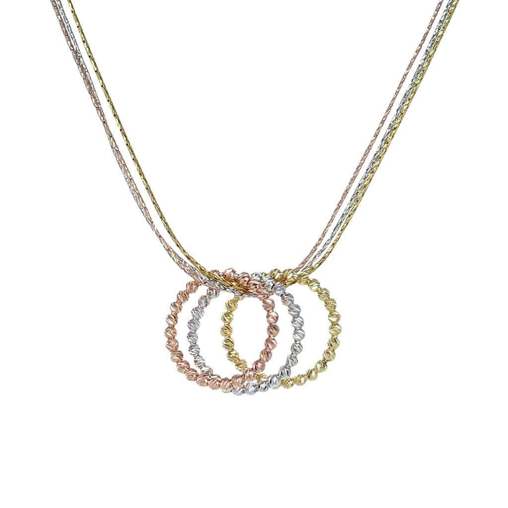 3-Ring Necklace with Gold, Rose Gold, and Rhodium Overlay