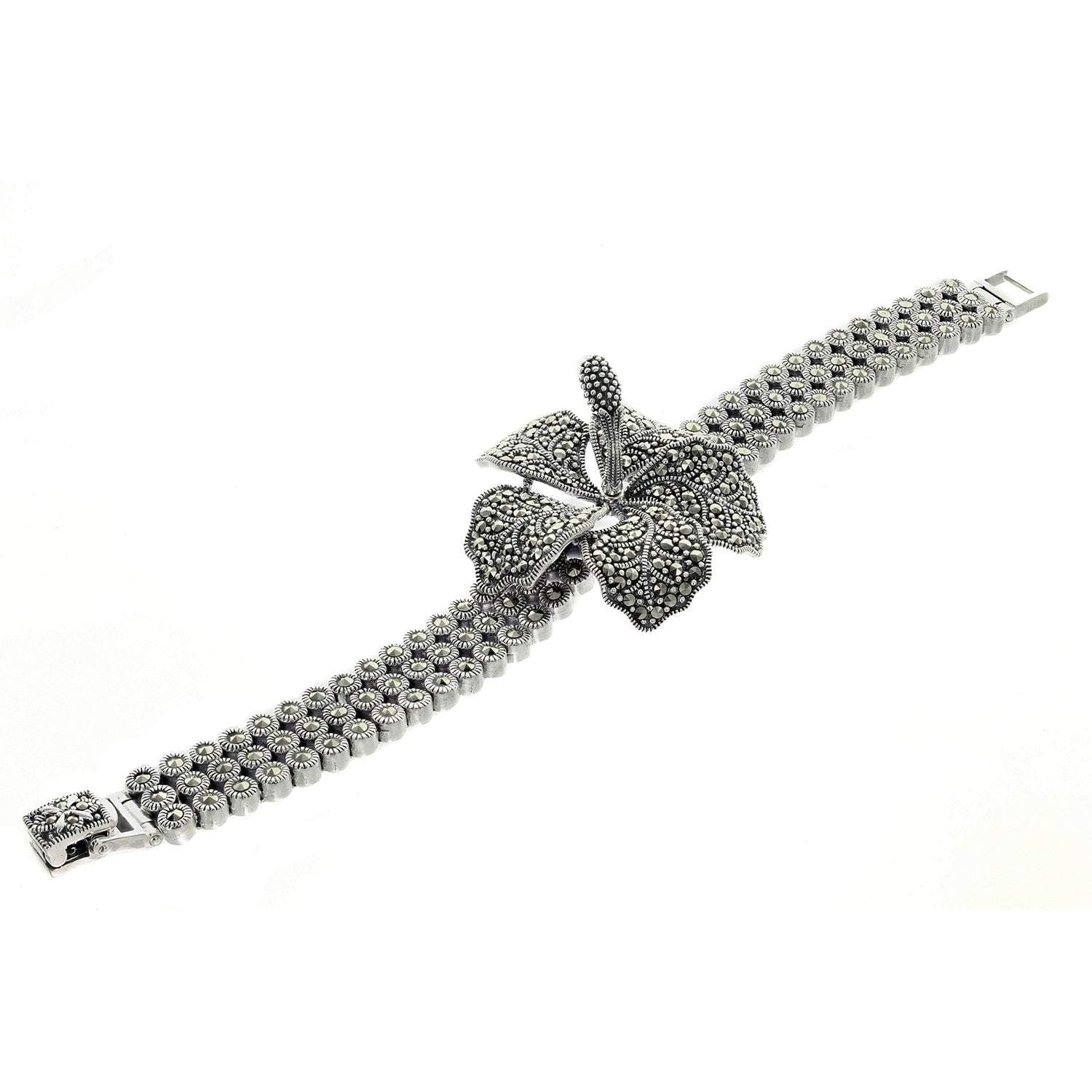 Marcasite Collection Bracelets Black / White Marcasite Flower Bracelet in Sterling Silver