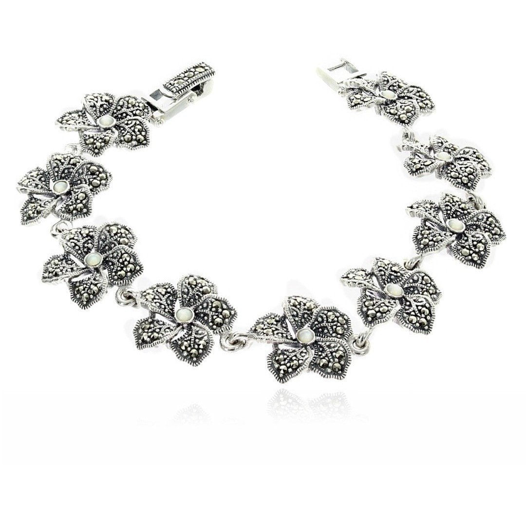 Marcasite Collection Bracelets Default Title / White Sterling & Marcasite Flower Bracelet with Mother of Pearl