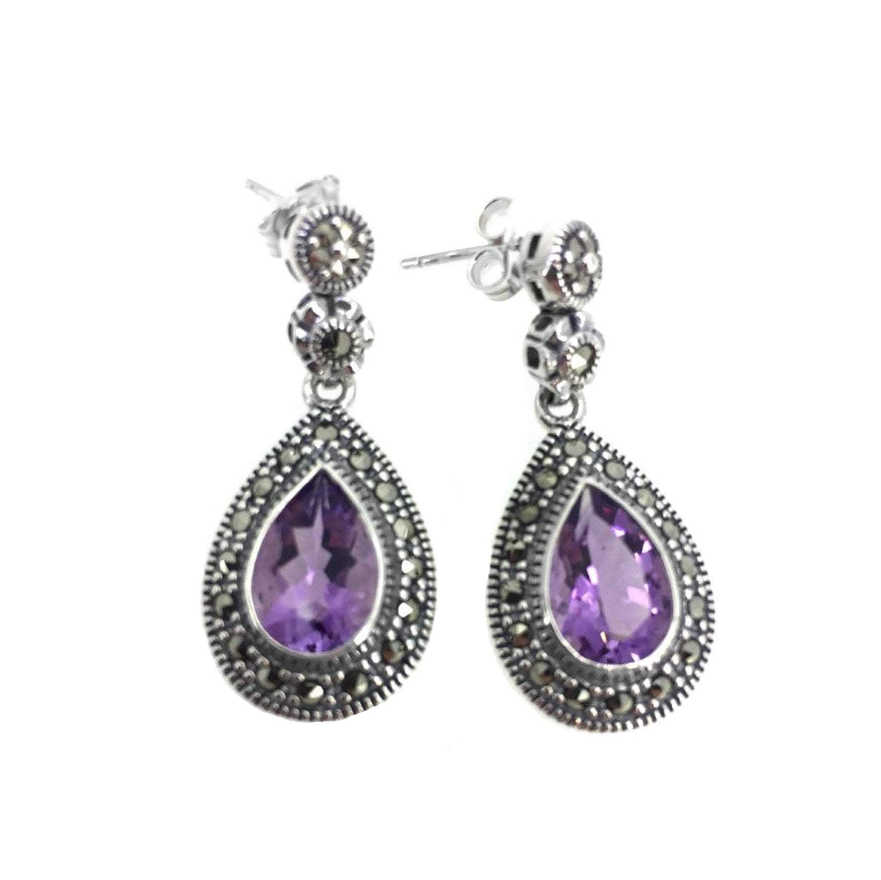 Marcasite & Amethyst Teardrop Earrings