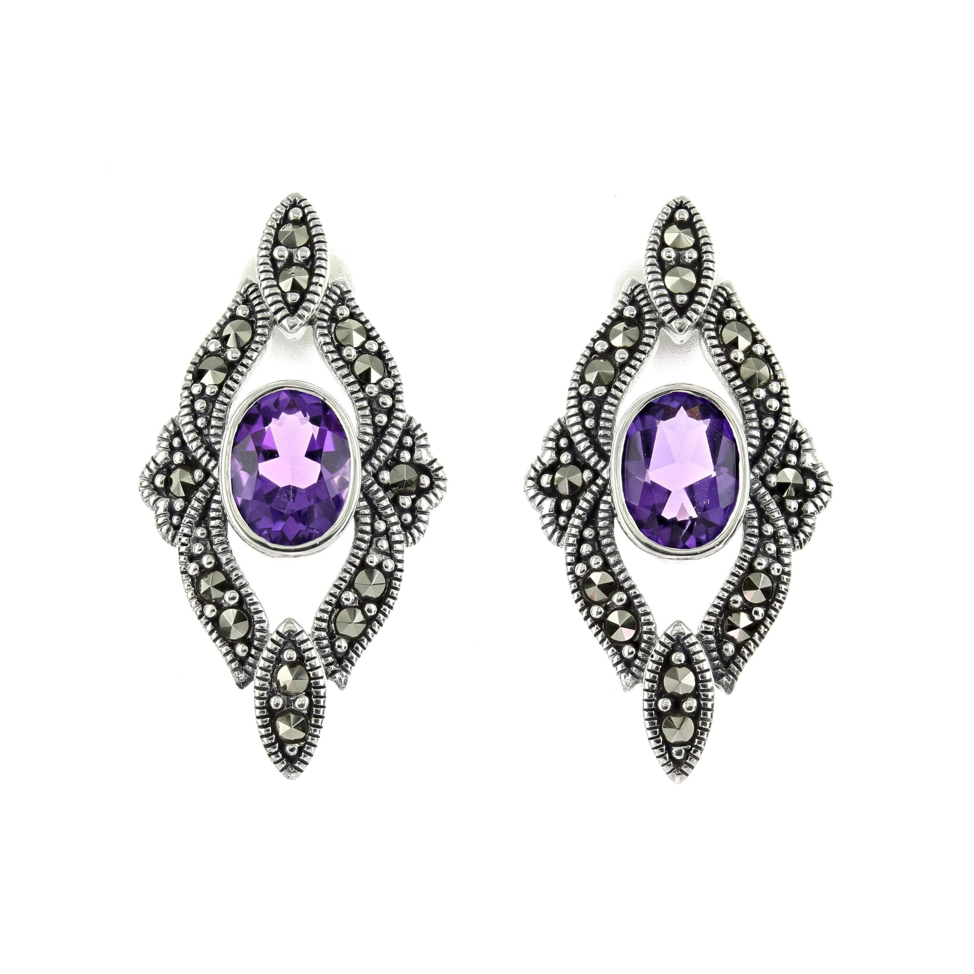 Marcasite Collection Earrings Default Title / Silver / Black Marcasite & Amethyst Stud Earrings