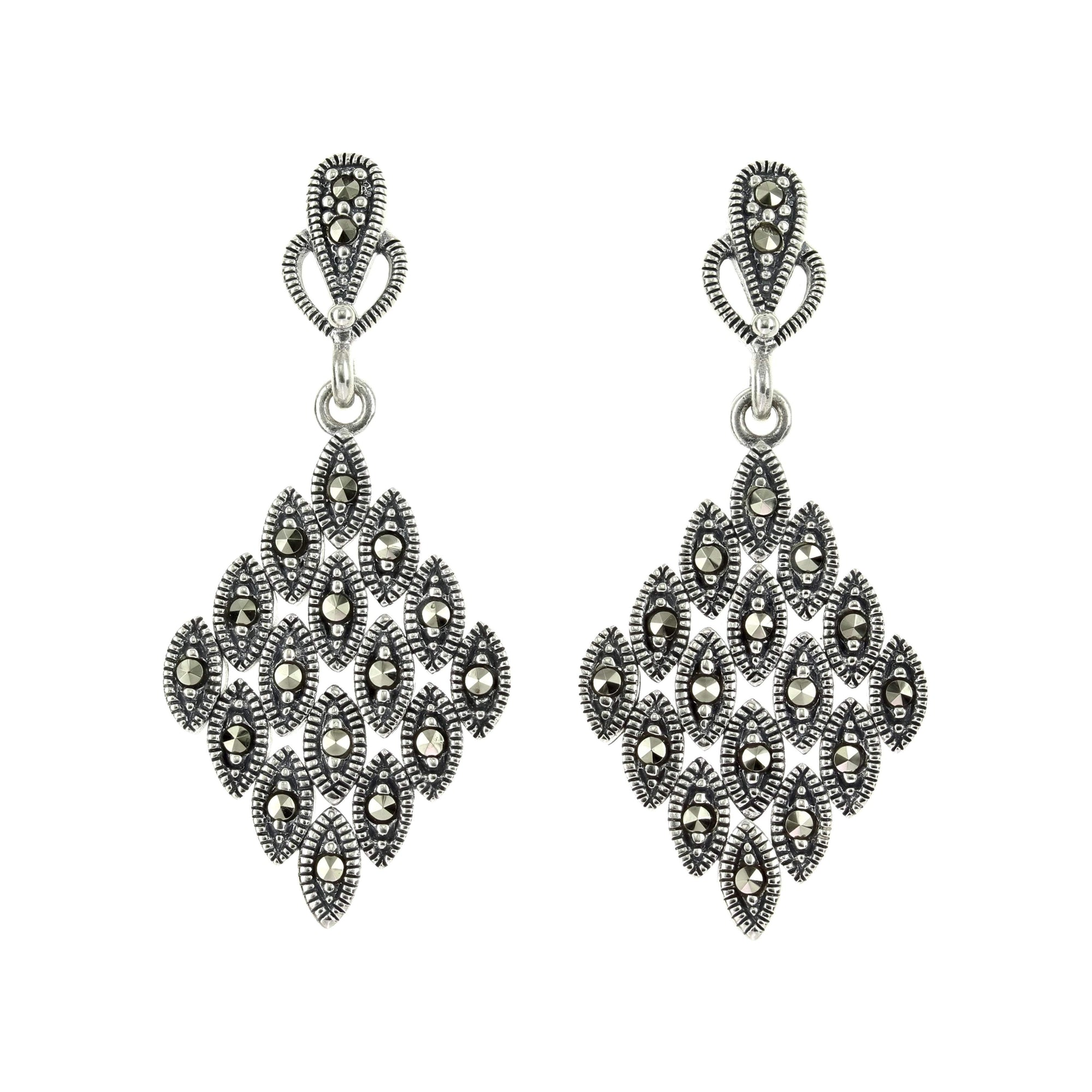 Marcasite Collection Earrings Default Title / Silver / Black Marcasite Diamond Earrings