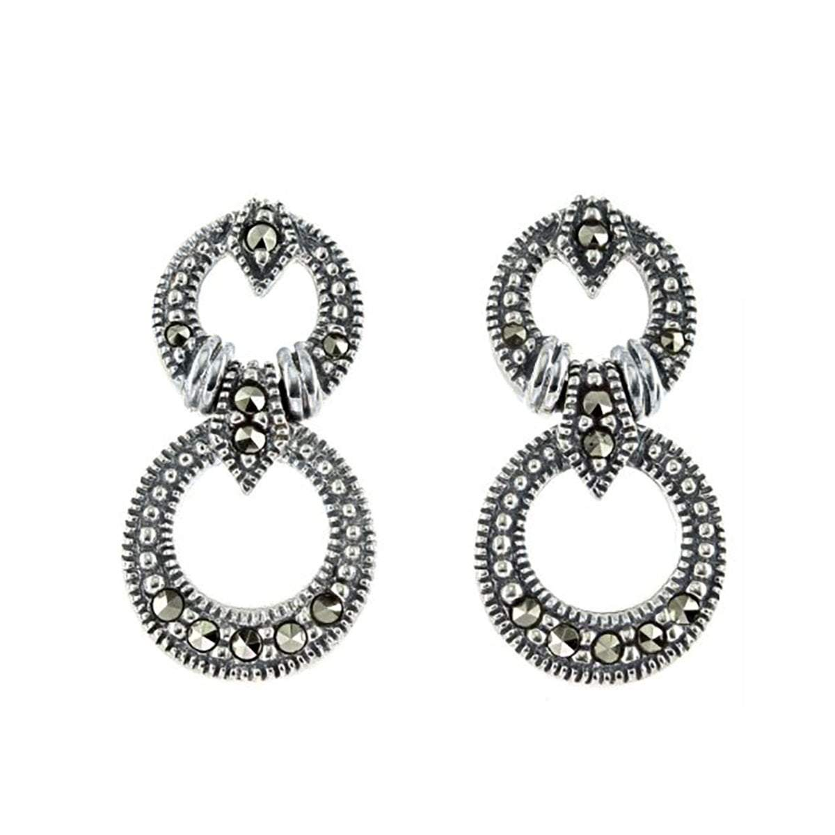 Marcasite Collection Earrings Default Title / Silver / Black Marcasite Double Circle Stud Earring
