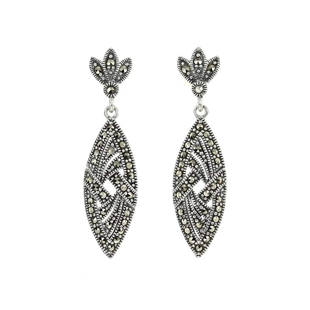 Marcasite Marquise Earrings in Sterling Silver