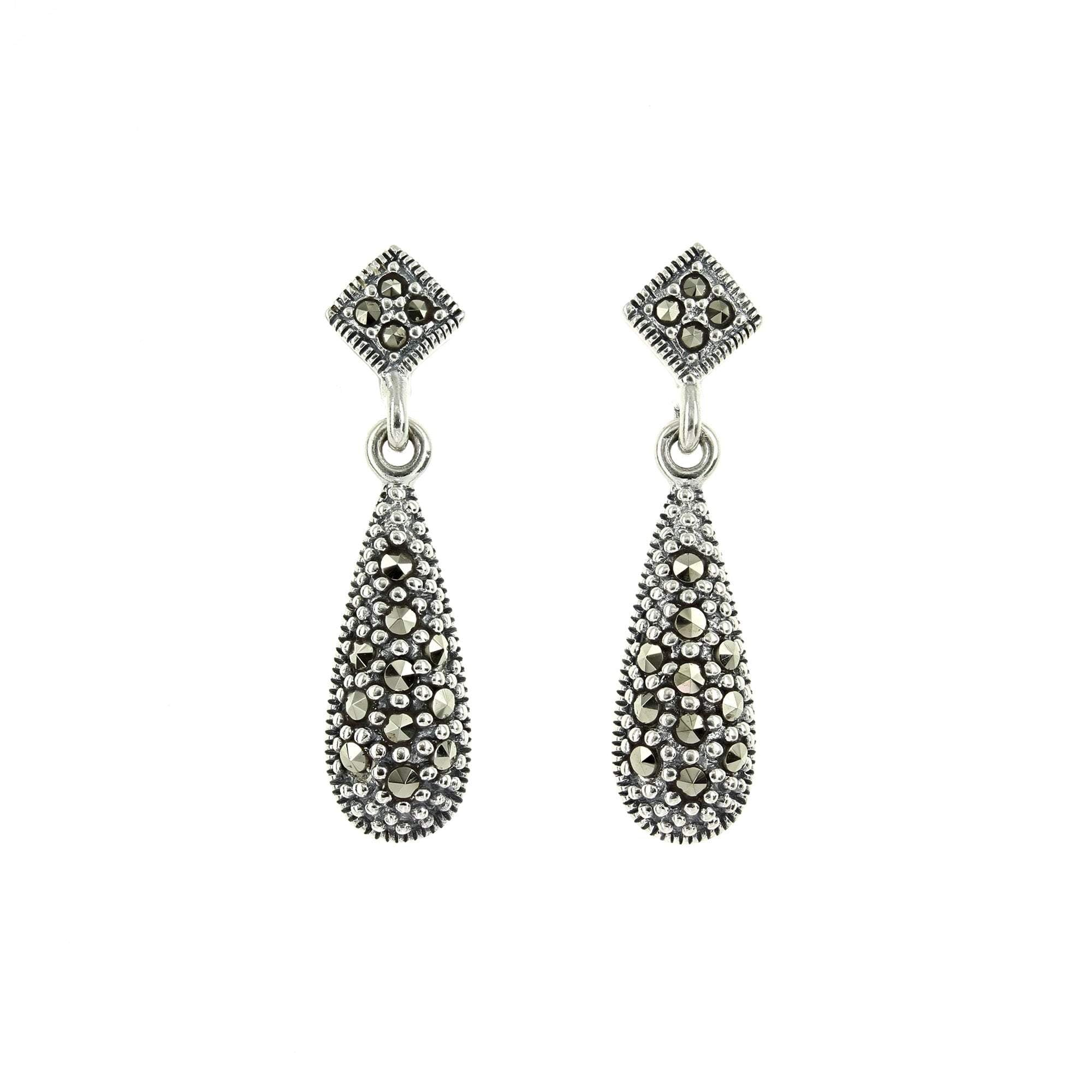 Marcasite Post and Drop Earrings