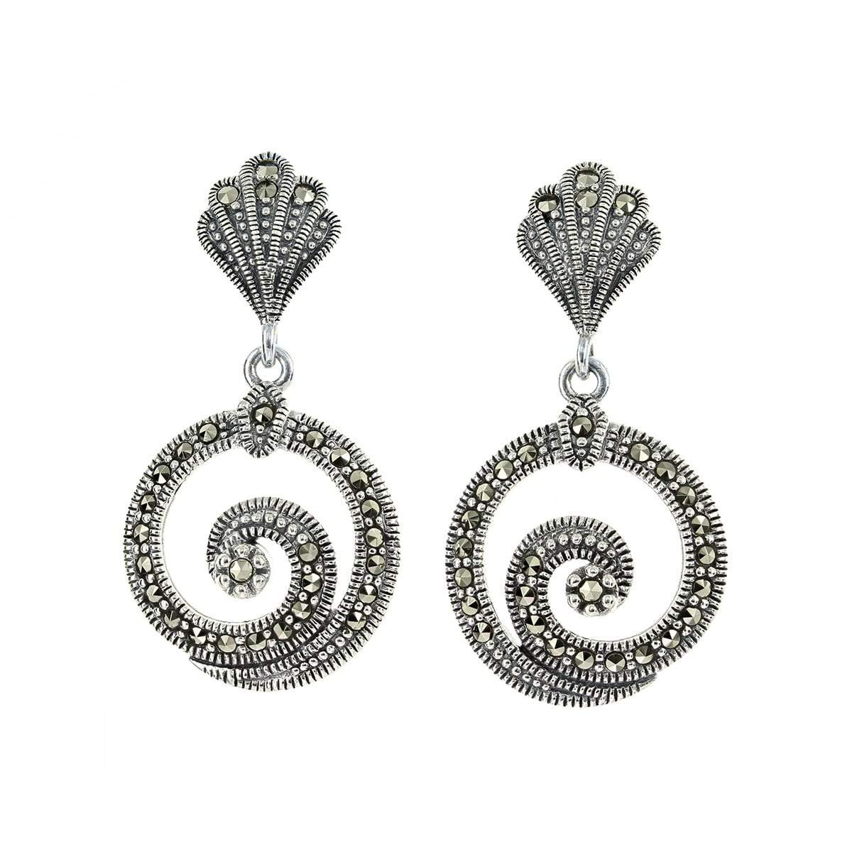 Marcasite Collection Earrings Default Title / Silver / Black Marcasite Swirl Earrings in Sterling Silver