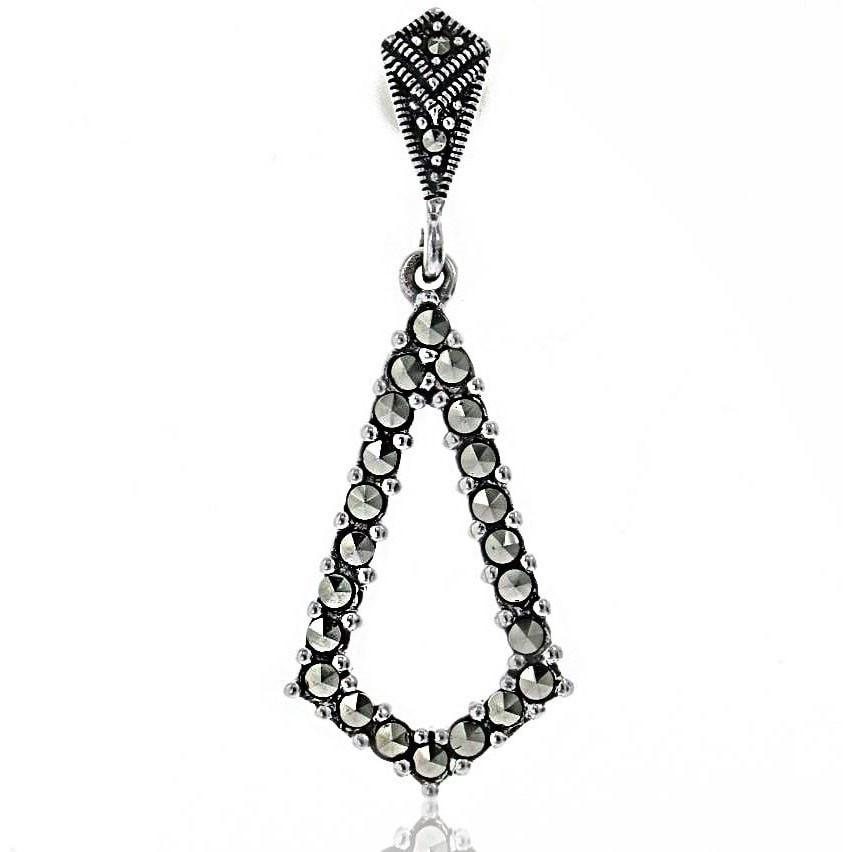Marcasite Collection Earrings Default Title / Silver / Black Sterling & Marcasite Angle Post Earrings