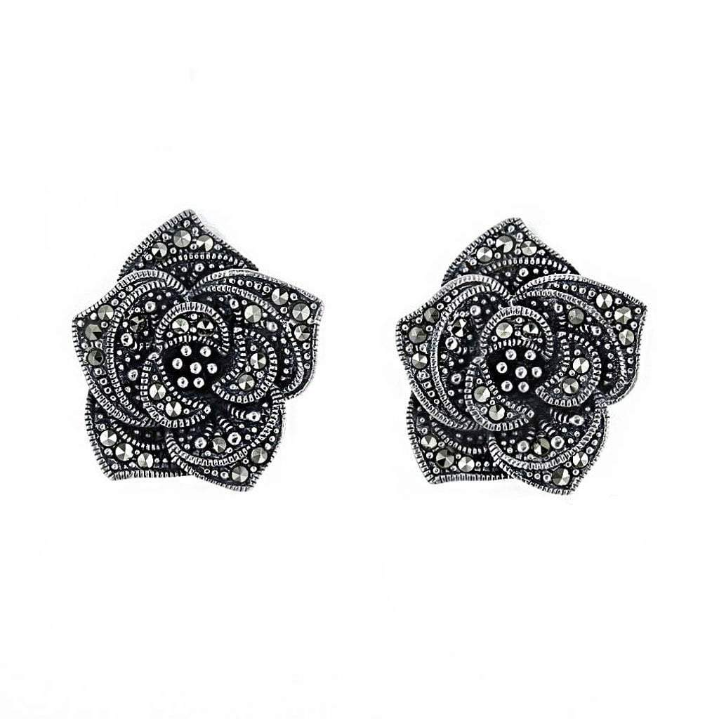 Sterling & Marcasite Rose Earrings