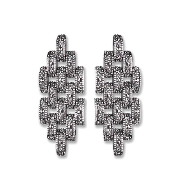 Marcasite Collection Earrings Silver / Black 5-Row interlocking Pave Set Marcasite Dangle Earring