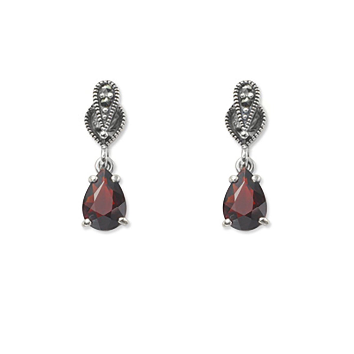 Marcasite Collection Earrings Silver / Black Decorative Marcasite with Garnet Teardrop Earrings in Sterling Silver