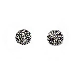 Marcasite Collection Earrings Silver / Black Round Marcasite Stud Earrings in Sterling Silver