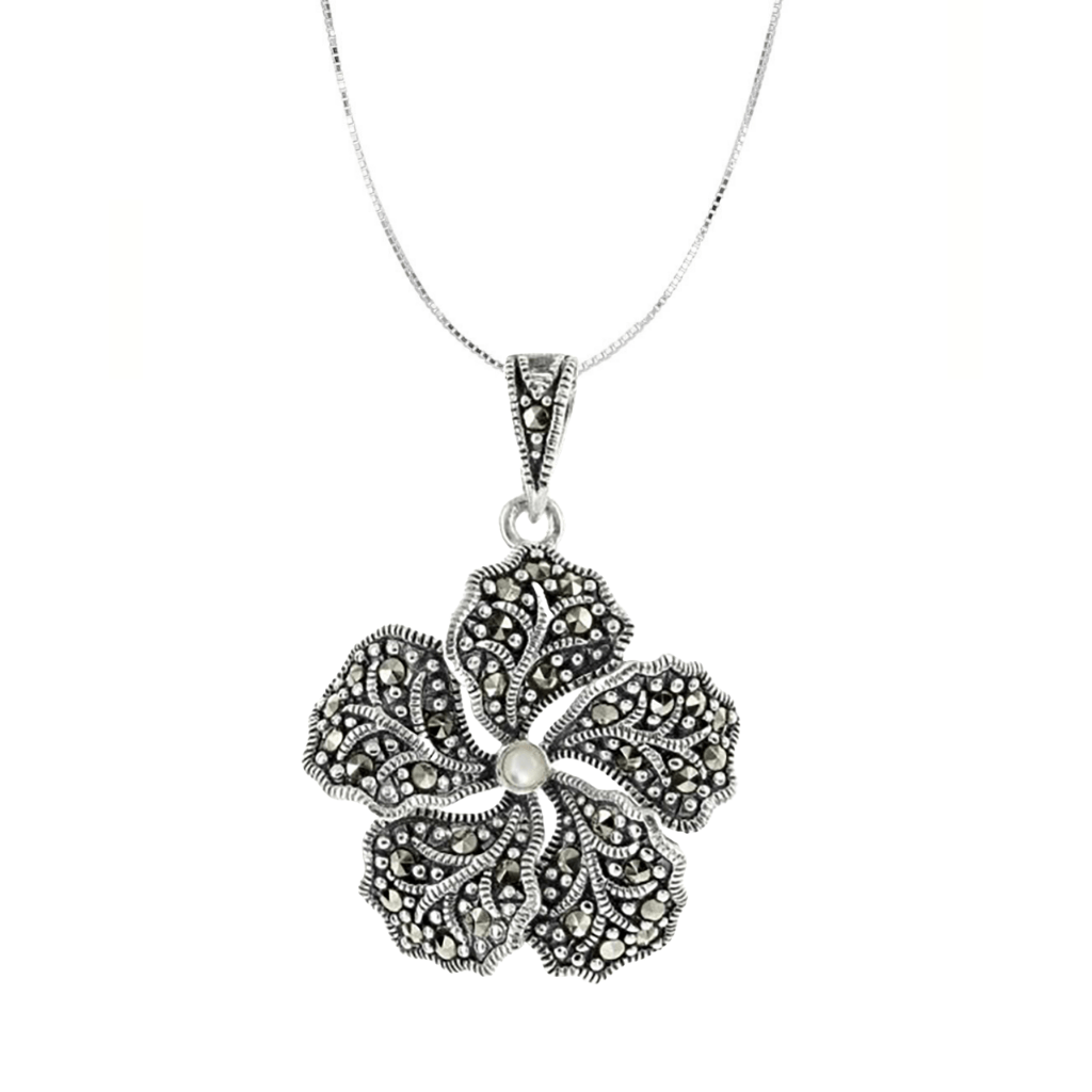 Marcasite Collection Necklaces Default Title / Silver / Black / Purple Marcasite & Mother of Pearl Flower Necklace