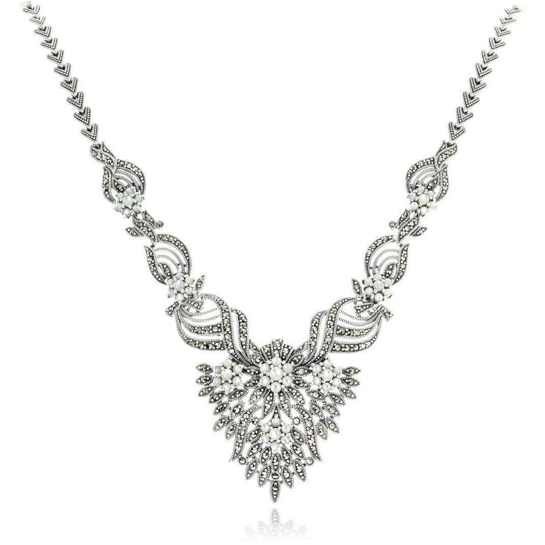 Marcasite Collection Necklaces Default Title / Silver / Black Sterling & Marcasite Cascading Flowers Statement Necklace