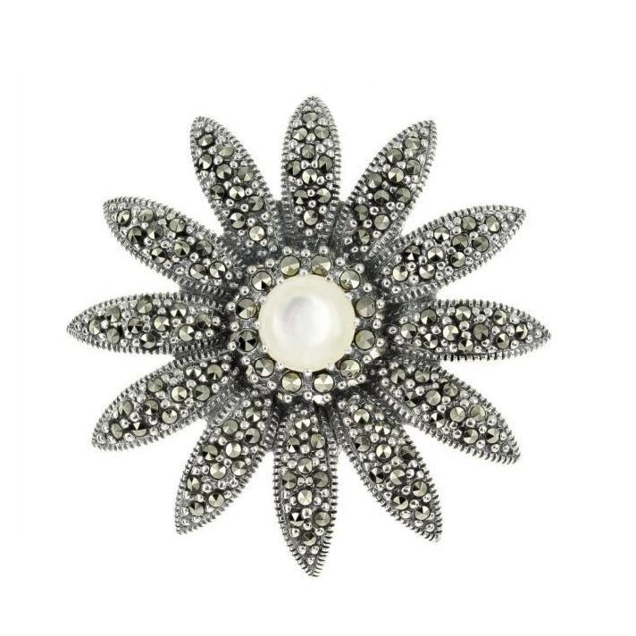 Marcasite Flower Pendant/Brooch in Sterling Silver with Mother of Pearl