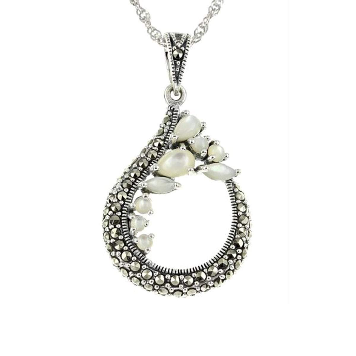 Marcasite Collection Pendants Default Title / Silver / Black Marcasite & Mother of Pearl Open Teardrop Pendant