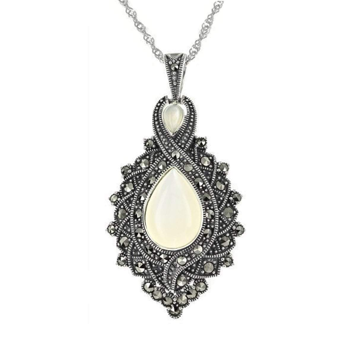 Marcasite & Mother of Pearl Pendant in Sterling Silver