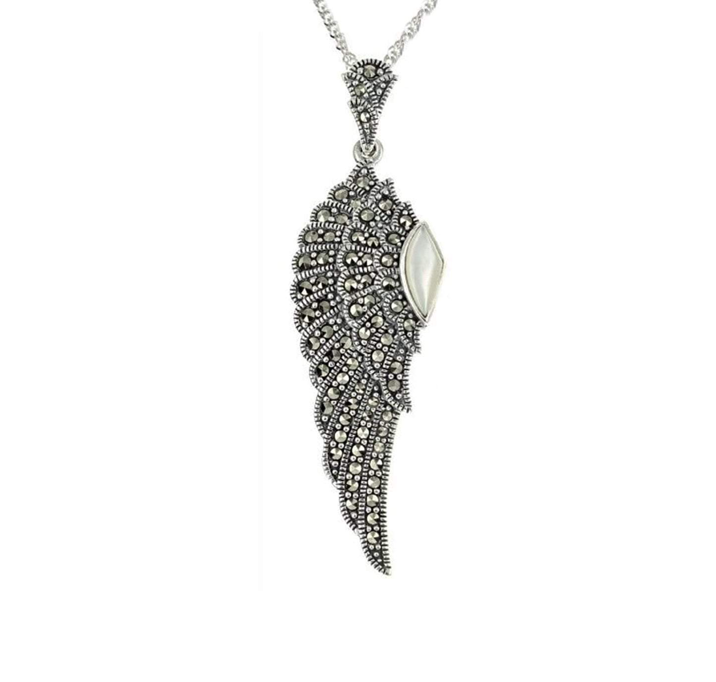 Marcasite Collection Pendants Default Title / Silver / Black Marcasite & Mother of Pearl Wing Pendant