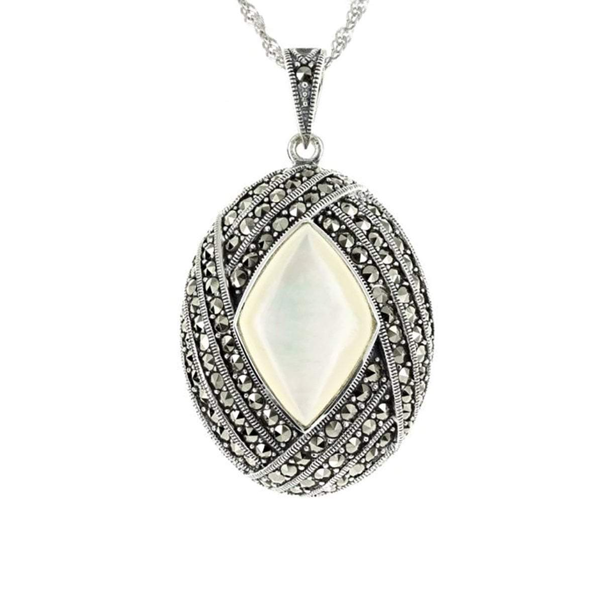 Oval Marcasite & Mother of Pearl Pendant in Sterling Silver