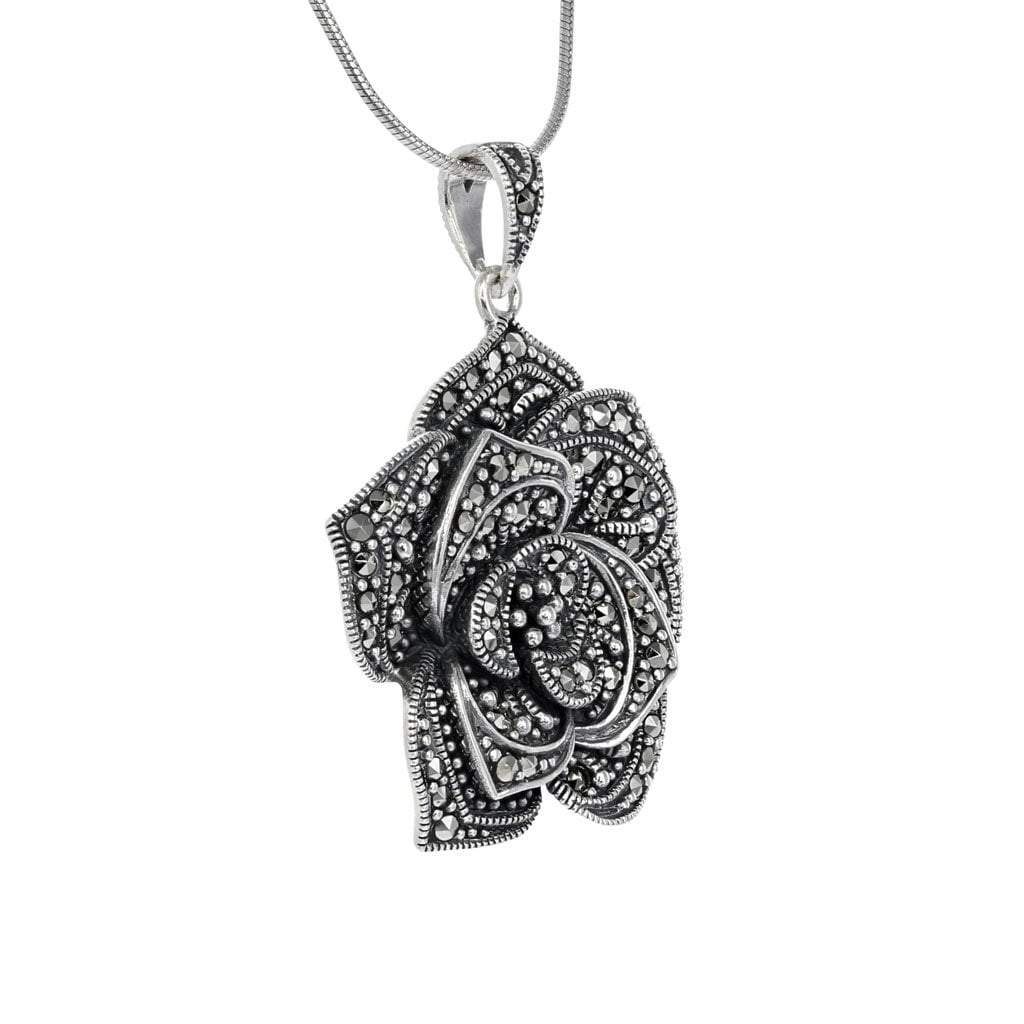 Sterling & Marcasite Rose Pendant