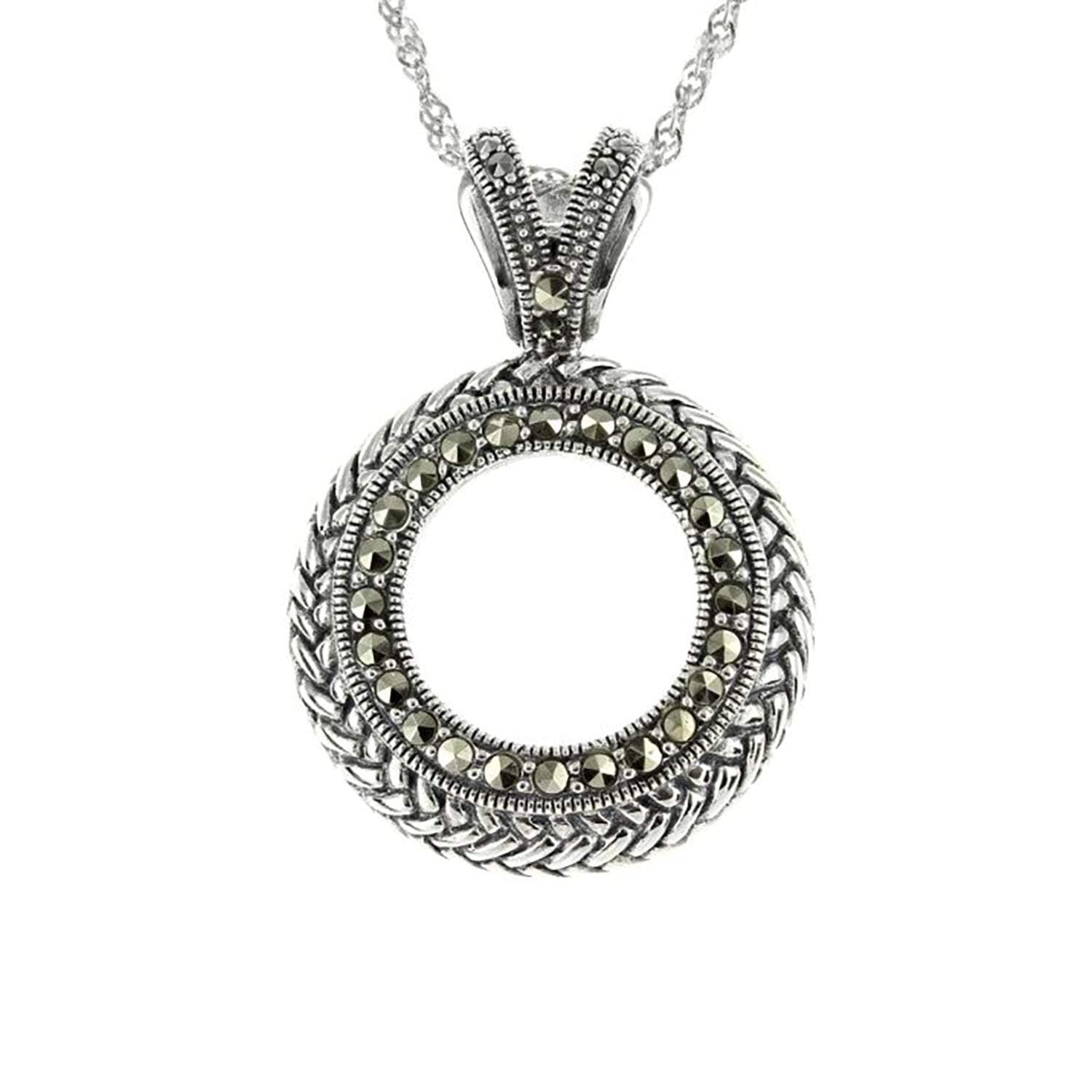 Marcasite Collection Pendants Silver Open Circle Marcasite Pendant in Sterling Silver