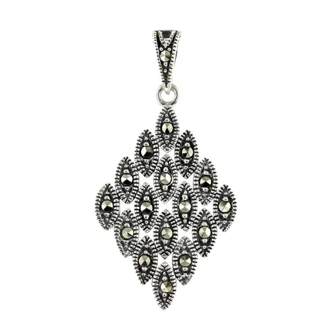 Marcasite Collection Pendants Silver / Red Diamond Marcasite Pendant in Sterling Silver