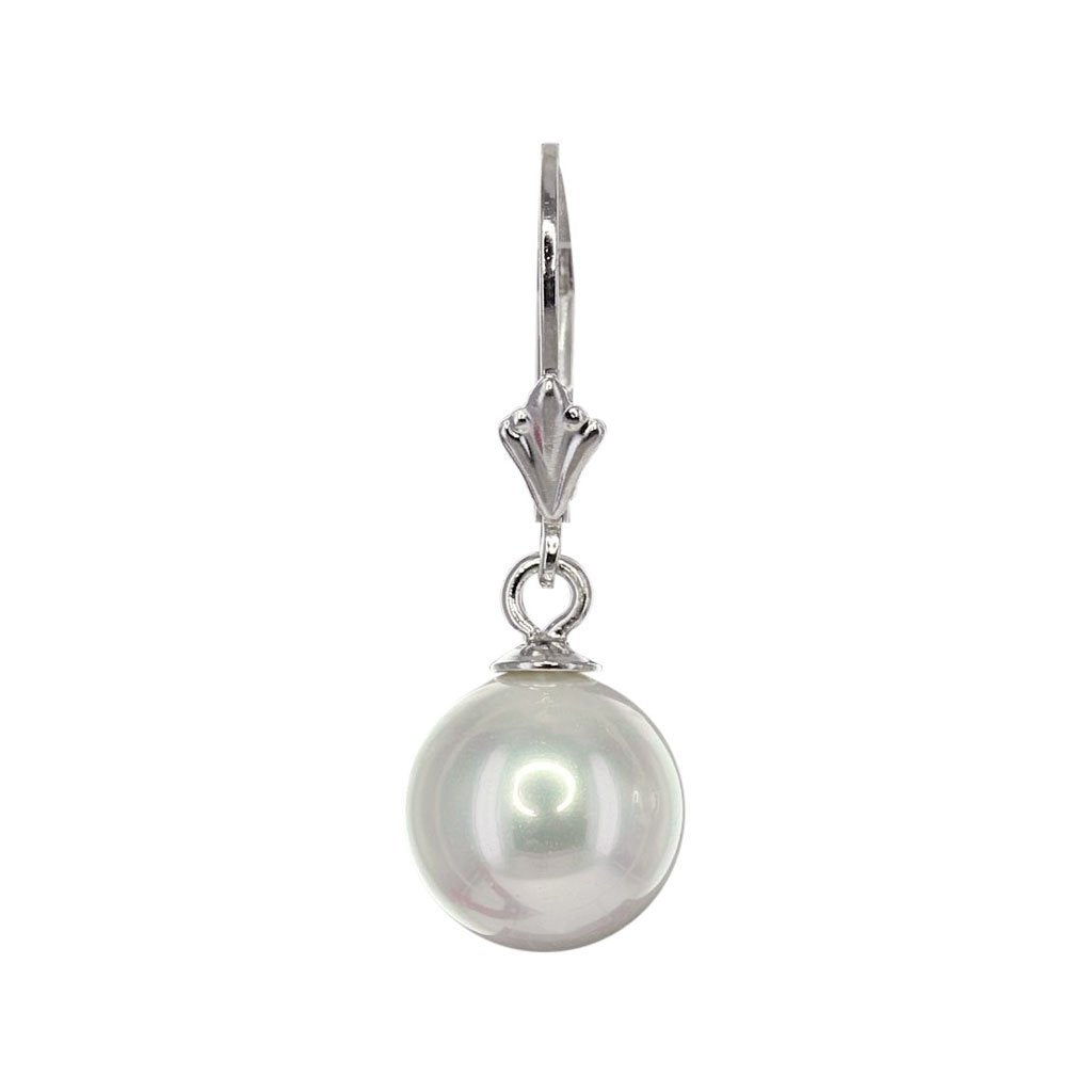 Masami South Sea Shell Small Pearl Drop Earrings (White)