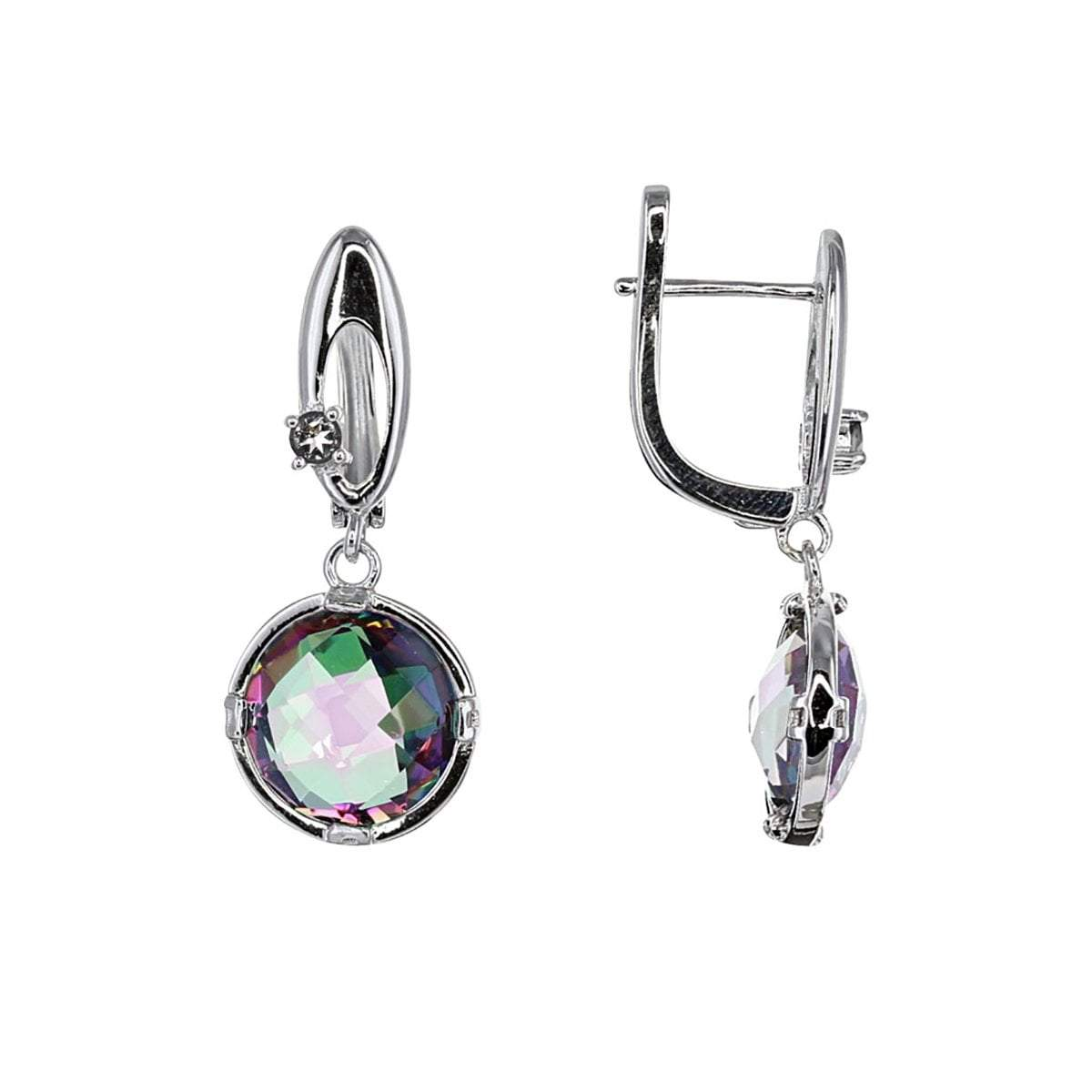 Mystic Earrings Default Title / Purple / Green / Pink Mystic Quartz Earrings with White Topaz Detail