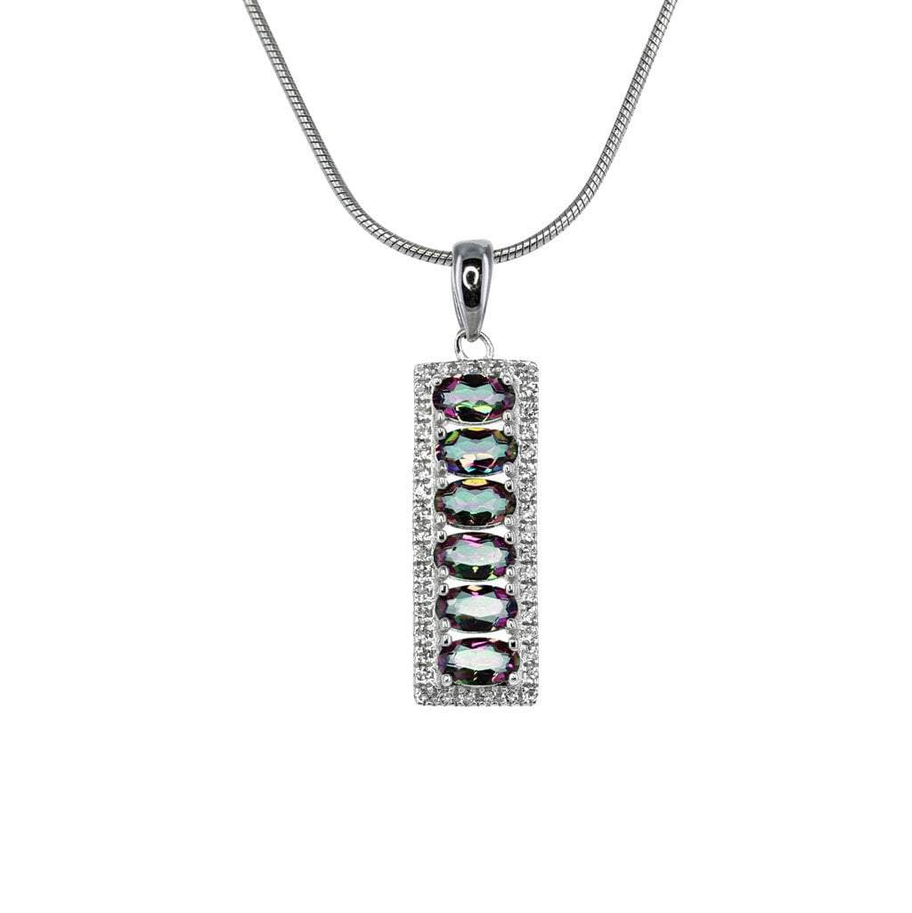 Mystic Quartz and White Topaz Bar Pendant