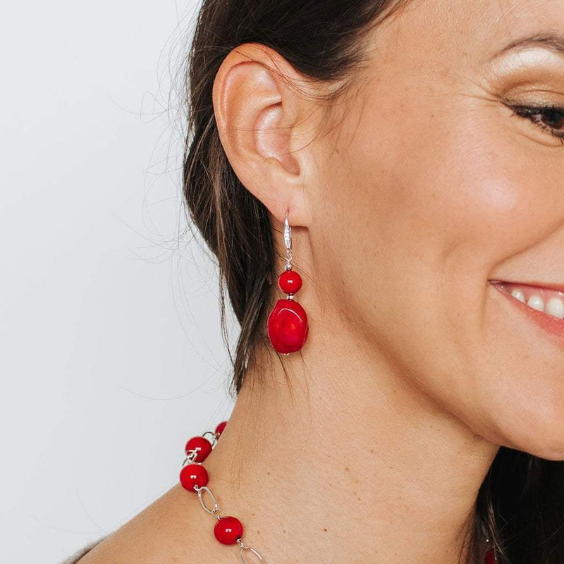 Coral 2-Bead Drop Earrings with Crystal Detail