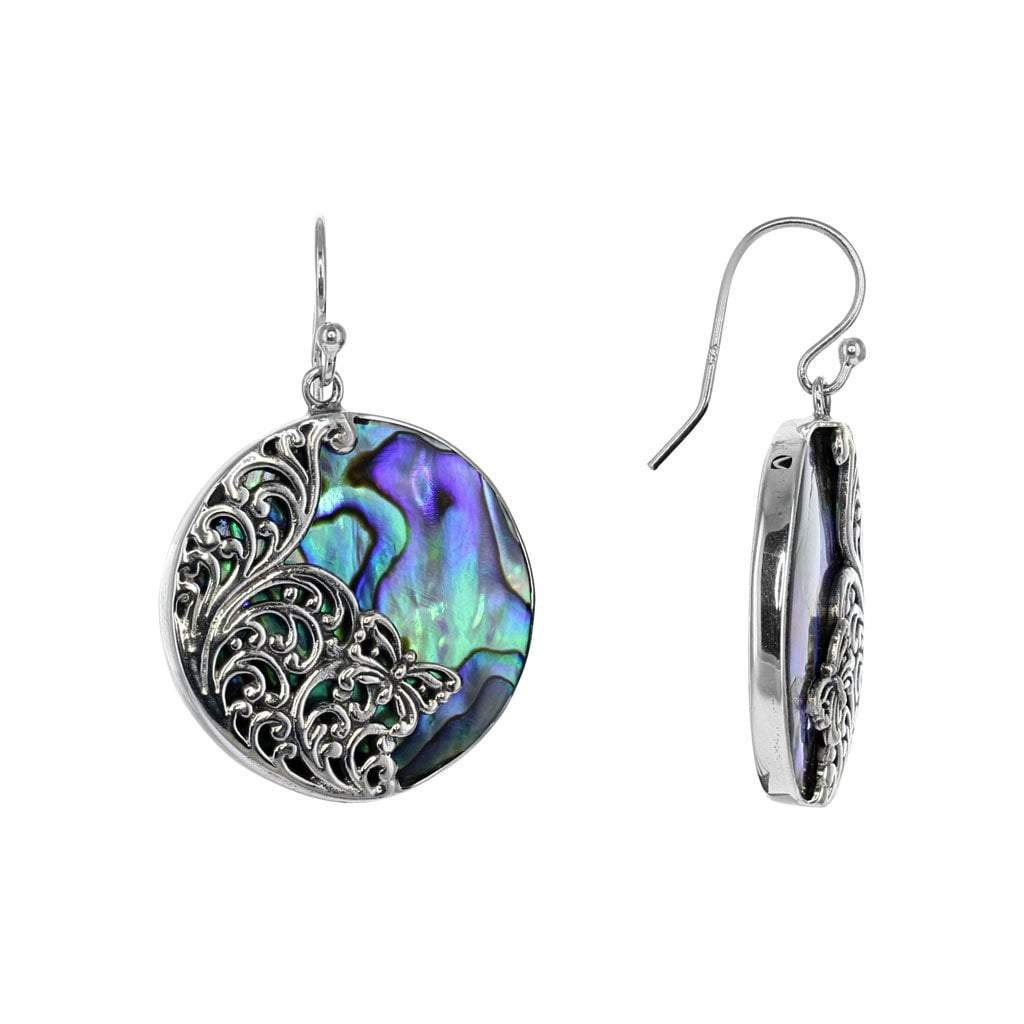Round Abalone and Silver Butterfly Earrings