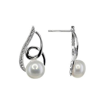 Freshwater Pearl Swirl Earrings in Sterling Silver with White Topaz Detail