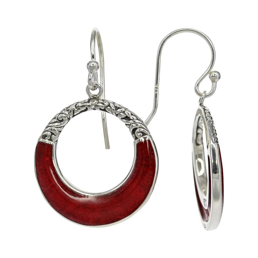Coral Moon Earrings with Sterling Filigree