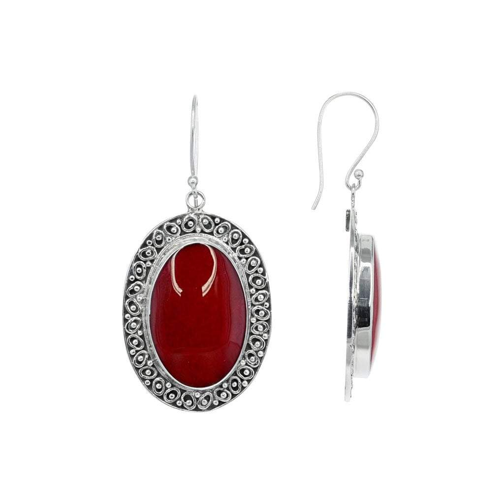 Red Coral Oval Earrings in Detailed Sterling Silver