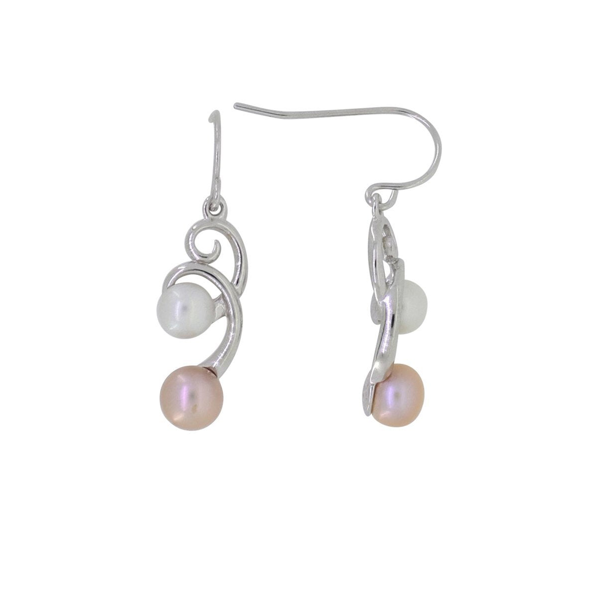 Ocean Collection Earrings Default Title / White / Pearl / Peach Double Drop Freshwater Pearl Earring