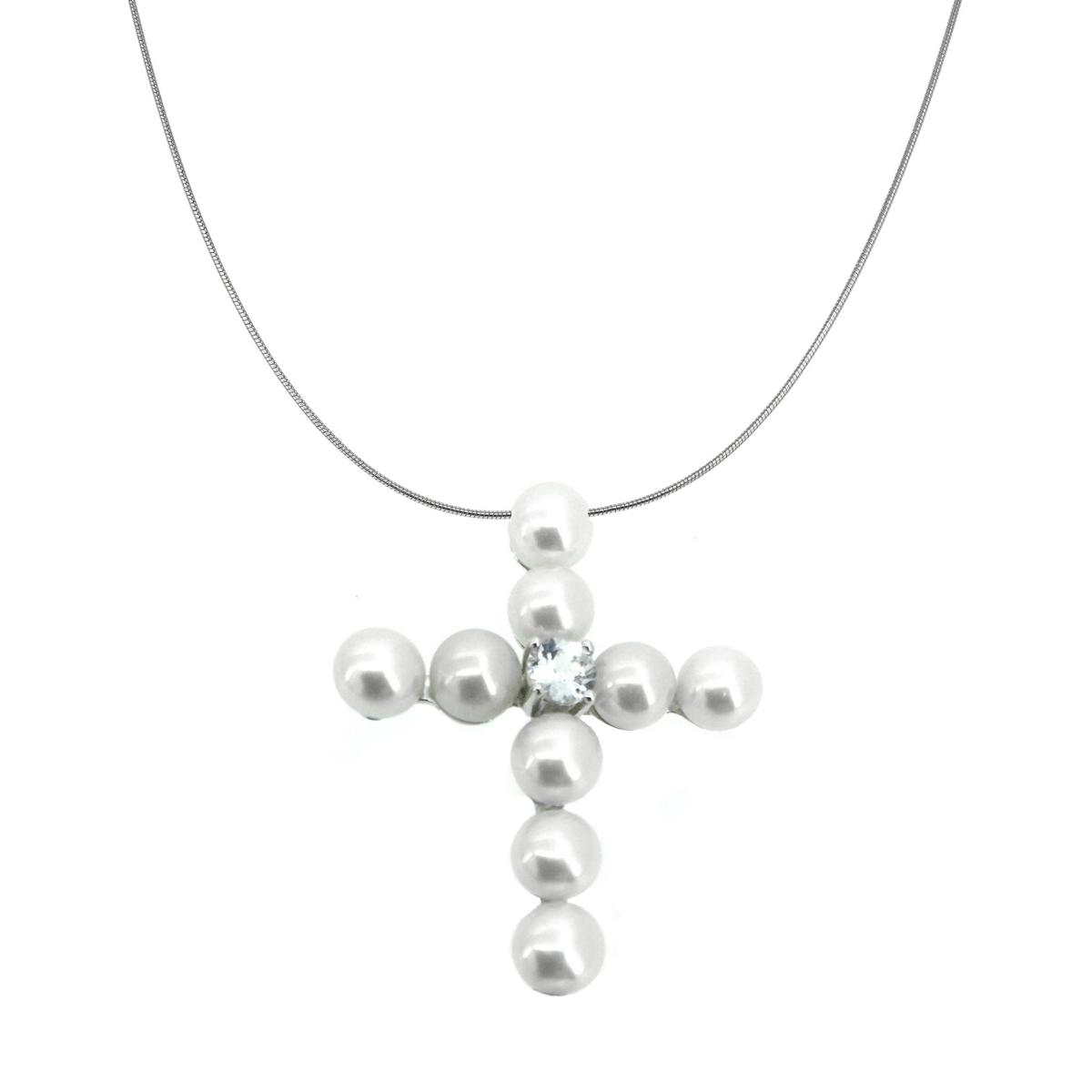 Freshwater Pearl & White Topaz Cross Necklace