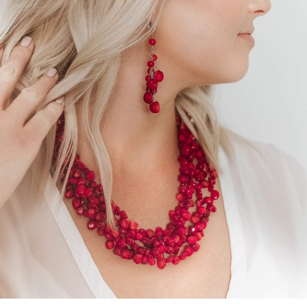 Coral 4-Strand Chunky Necklace