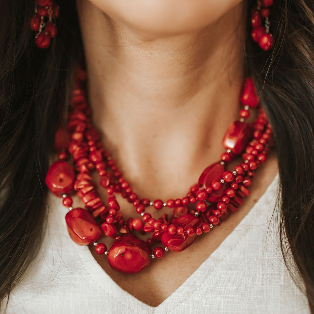 Coral 5-Strand Chunky Necklace