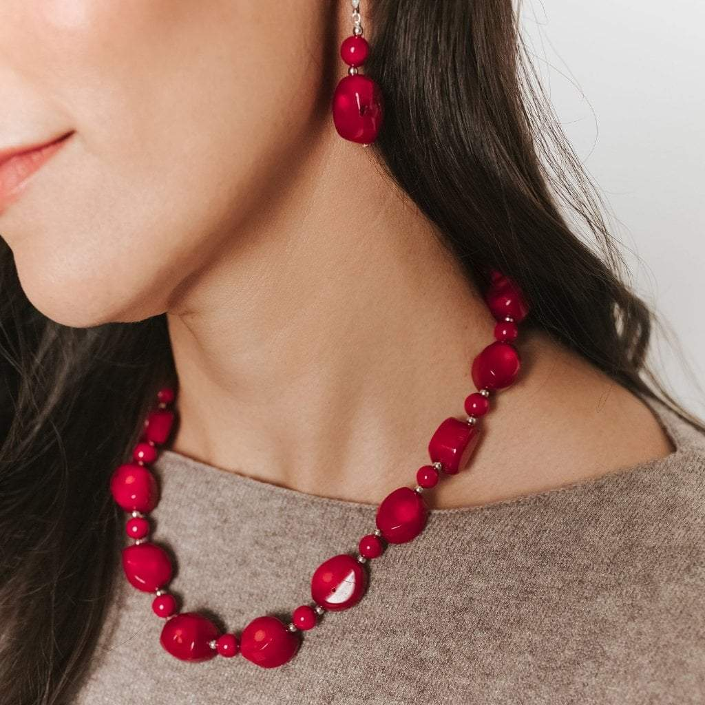 Red Coral Single Strand Chunky Necklace